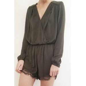 Guess Olive Green Silky Romper